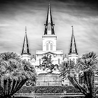 St. Louis Cathedral in New Orleans black and white picture. The Cathedral-Basilica of St. Louis King of France and General Andrew Jackson statue are located in Jackson Square and was completed in 1794.