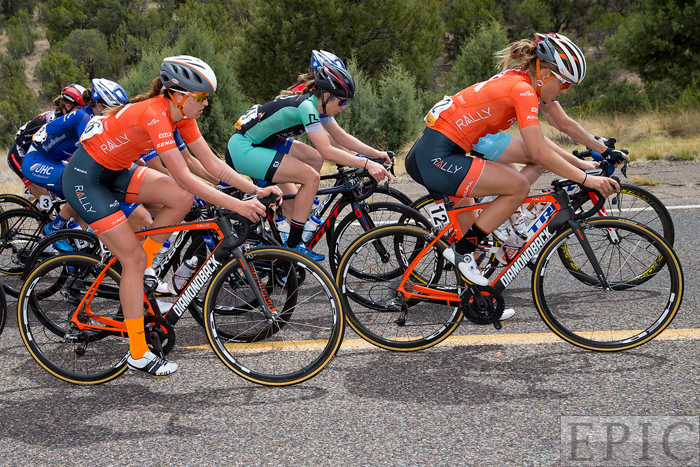 SILVERY CITY, NM - APRIL 19: Kirsti Lay (Rally Cycling) and Abigail Mickey (Rally Cycling) during stage 2 of the Tour of The Gila on April 19, 2018 in Silver City, New Mexico. (Photo by Jonathan Devich/Epicimages.us)