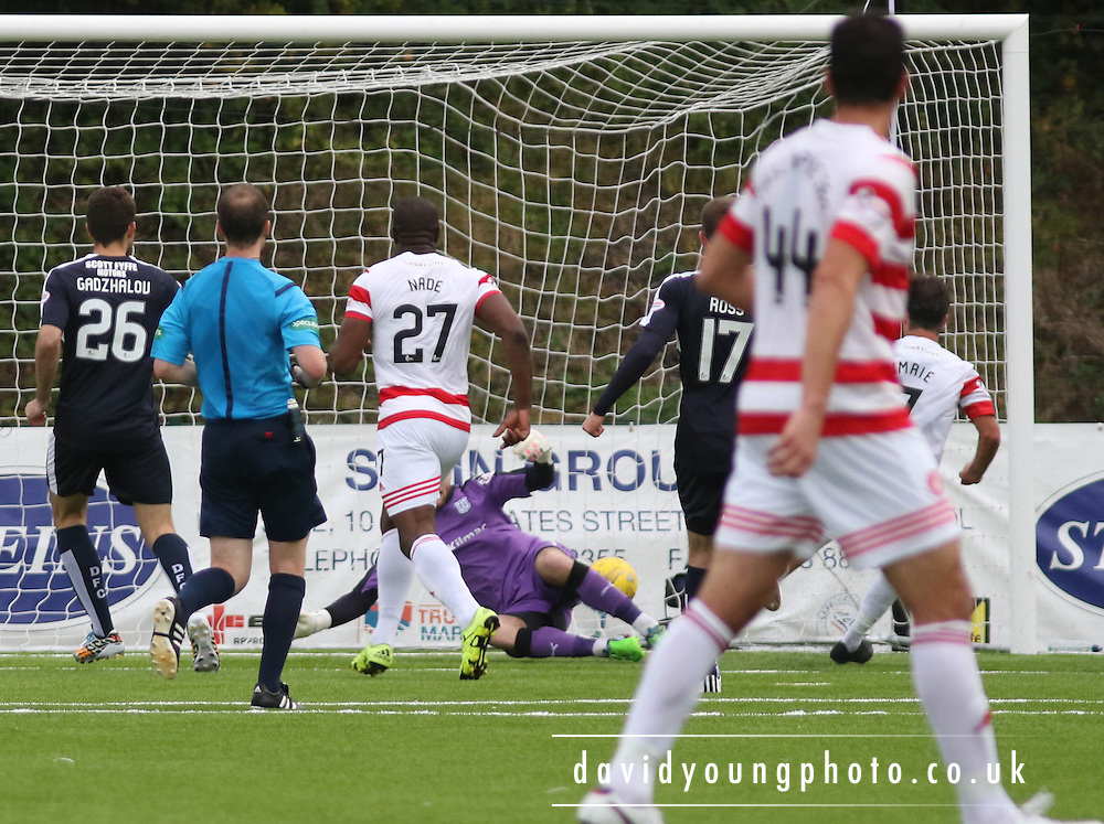Hamilton Academical's Dougie Imrie scores the equaliser  - Hamilton Academical v Dundee, Ladbrokes Premiership at New Douglas Park<br /> <br /> <br />  - &copy; David Young - www.davidyoungphoto.co.uk - email: davidyoungphoto@gmail.com