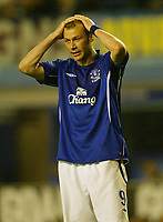 Photo: Aidan Ellis.<br /> Everton v Dinamo Bucuresti. UEFA Cup. 29/09/2005.<br /> Everton's Duncan Ferguson cant believe his team are out of europe