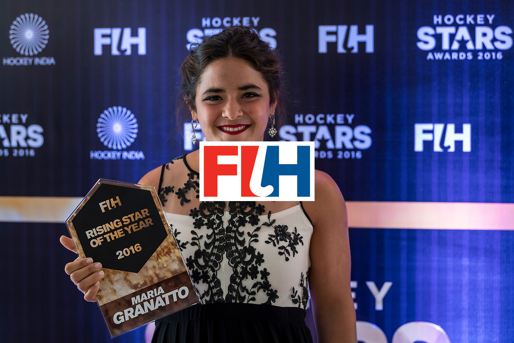 CHANDIGARH, INDIA - FEBRUARY 23: FIH Female Rising Star of the Year Maria Granatto of Argentina poses for a picture during the FIH Hockey Stars Awards 2016 at Lalit Hotel on February 23, 2017 in Chandigarh, India. (Photo by Ali Bharmal/Getty Images for FIH)