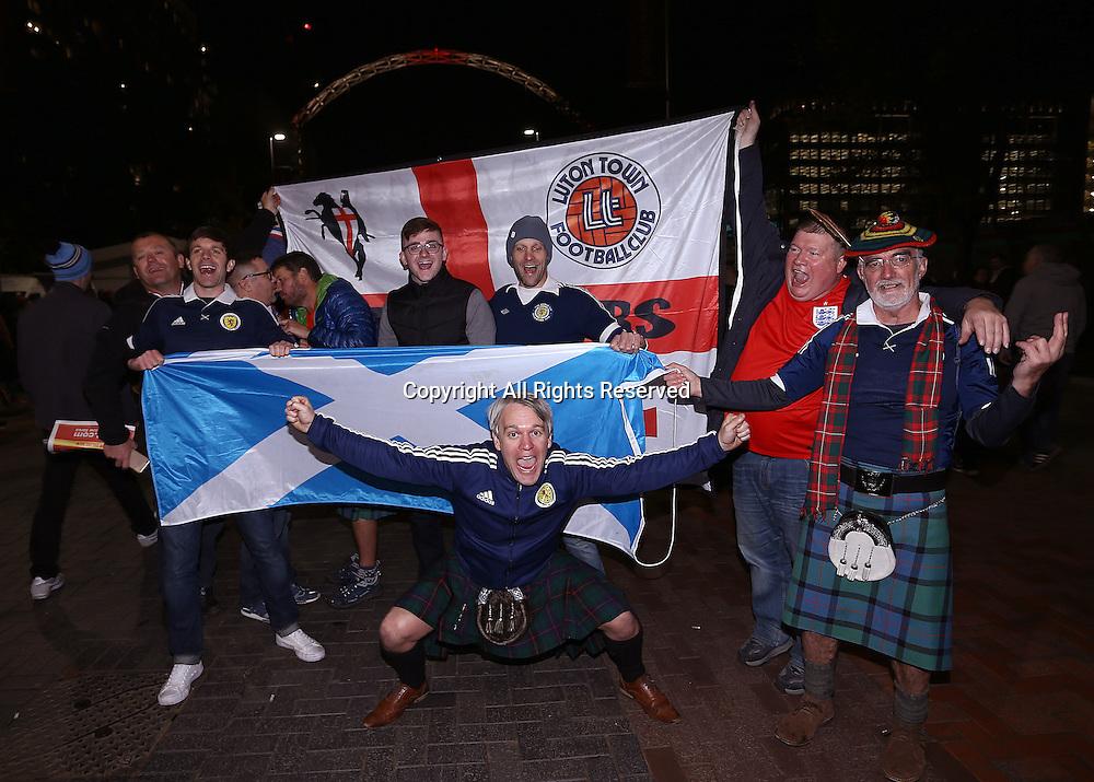11.11.2016. Wembley Stadium, London, England. World Cup Qualifying Football. England versus Scotland. Scotland fans arrive at Wembley Stadium