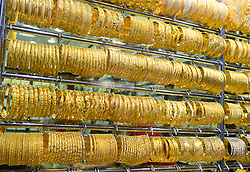 Window display of gold jewellery in Gold Souk in Deira Dubai United Arab Emirates