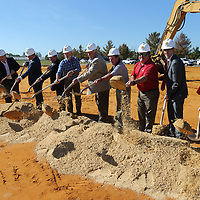 Local officials break ground on the new Fairpark Towers in Tupelo on Thursday.