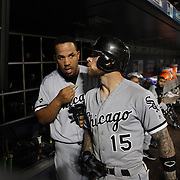 NEW YORK, NEW YORK - May 31:  Jose Abreu #79 of the Chicago White Sox and Brett Lawrie #15 of the Chicago White Sox in the dugout preparing to bat during the Chicago White Sox Vs New York Mets regular season MLB game at Citi Field on May 31, 2016 in New York City. (Photo by Tim Clayton/Corbis via Getty Images)