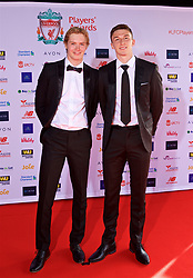 LIVERPOOL, ENGLAND - Thursday, May 10, 2018: Liverpool Under-18's goalkeeper Caoimhin Kelleher and Conor Masterson arrive on the red carpet for the Liverpool FC Players' Awards 2018 at Anfield. (Pic by David Rawcliffe/Propaganda)