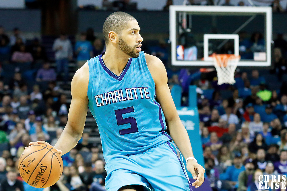 01 November 2015: Charlotte Hornets forward Nicolas Batum (5) dribbles during the Atlanta Hawks 94-92 victory over the Charlotte Hornets, at the Time Warner Cable Arena, in Charlotte, North Carolina, USA.