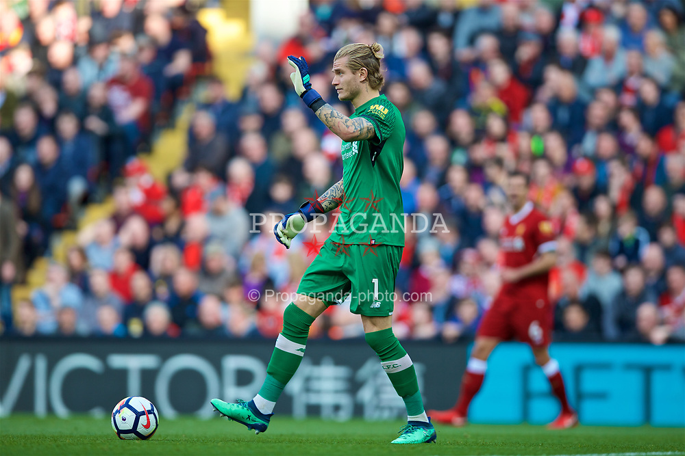 LIVERPOOL, ENGLAND - Saturday, April 14, 2018: Liverpool's goalkeeper Loris Karius during the FA Premier League match between Liverpool FC and AFC Bournemouth at Anfield. (Pic by Laura Malkin/Propaganda)