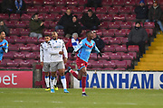 Scunthorpe United player Abo Eisa (30) celebrates scoring goal to go 1-0 during the EFL Sky Bet League 2 match between Scunthorpe United and Colchester United at Glanford Park, Scunthorpe, England on 14 December 2019.