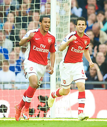 LONDON, ENGLAND - Saturday, April 18, 2009: Arsenal's Theo Walcott celebrates with team-mate Cesc Fabregas after Walcott's opening goal against Chelsea during the FA Cup Semi-Final match at Wembley. (Photo by: David Rawcliffe/Propaganda)