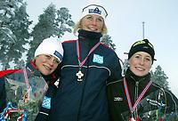 Skøyter, 22. desember 2002. NM enkeltdistanser. Søstrene Bjelkevik tok trippel på 1500 meter. Anette, Hedvig og Silje(?)