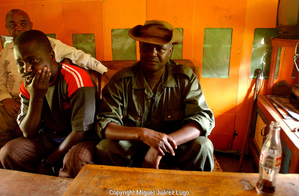 Nyabiondo. D.R.C.  FDLR Col. Adili Buriwese and Col. Sadiki Soleil. Summarize the existence of life in the Congo jungle for hundreds of Hutu rebels in this remote town of Eastern Congo.  (Photo by Miguel Juárez Lugo).