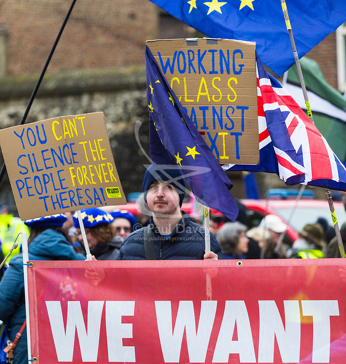 A protester across the road from the Houses of Parliament in London demands a 'People's Vote' - a second referendum on the Brexit deal secured by British Prime Minister Theresa May as MPs in Parliament across the road debate the deal and will later vote on it.. London, January 15 2019.