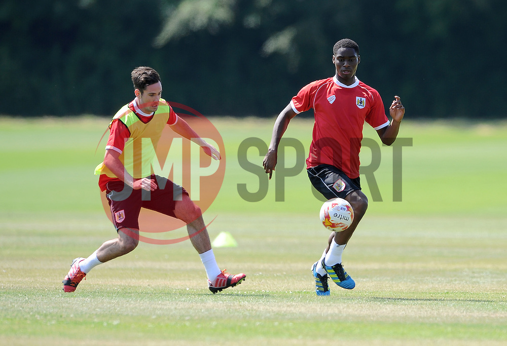 Bristol City's Greg Cunningham with Bristol City's Jordan Wynter - Photo mandatory by-line: Dan Rowley/JMP - Tel: Mobile: 07966 386802 02/07/2014 - SPORT - FOOTBALL - Bristol -  Bristol City Training