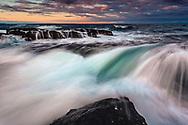 Waves smashing in the rocks