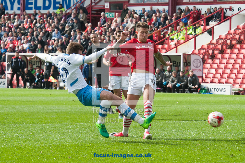 Callum McManaman of Sheffield Wednesday with a shot on goal during the Sky Bet Championship match at Oakwell, Barnsley<br /> Picture by Matt Wilkinson/Focus Images Ltd 07814 960751<br /> 01/04/2017