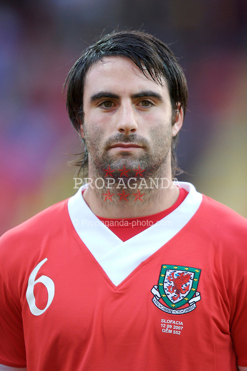 Trnava, Slovakia - Wednesday, September 12, 2007: Wales' Craig Morgan lines-up to face Slovakia during the UEFA Euro 2008 Qualifying Group D match at the Anton Malatinsky Stadium. (Photo by David Rawcliffe/Propaganda)