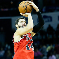 03 November 2015: Chicago Bulls forward Nikola Mirotic (44) takes a jump shot during the Charlotte Hornets  130-105 victory over the Chicago Bulls, at the Time Warner Cable Arena, in Charlotte, North Carolina, USA.