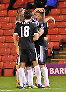 Picture by Richard Land/Focus Images Ltd +44 7713 507003<br /> 27/08/2013<br /> Southampton celebrate Jay Rodriguez making it 2- 0 during the Capital One Cup match at Oakwell, Barnsley.