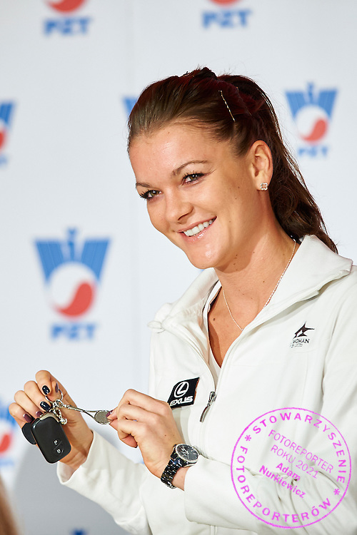 Agnieszka Radwanska during press conference of Polish Tennis Association before Fed Cup match at National Stadium in Warsaw, Poland.<br /> <br /> Poland, Warsaw, December 15, 2014<br /> <br /> Picture also available in RAW (NEF) or TIFF format on special request.<br /> <br /> For editorial use only. Any commercial or promotional use requires permission.<br /> <br /> Mandatory credit:<br /> Photo by &copy; Adam Nurkiewicz / Mediasport