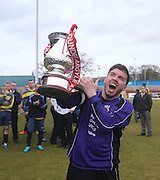 Captain Kevin Egan lifts the cup - Dundee Argyle win the Scottish Sunday Trophy beating Bullfrog in the final at Forthbank, Stirling<br /> <br />  <br />  - &copy; David Young - www.davidyoungphoto.co.uk - email: davidyoungphoto@gmail.com