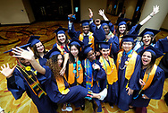 Students of American University Preparatory School participate in a graduation ceremony at a hotel in downtown Los Angeles, the United States, on Saturday, May 27, 2017. American University Preparatory School is a private, for-profit, four-year, co-educational boarding and day college preparatory high school for grades 9-12 located in Los Angeles, California, at the center of downtown Los Angeles. (Photo by Ringo Chiu)<br /> <br /> Usage Notes: This content is intended for editorial use only. For other uses, additional clearances may be required.