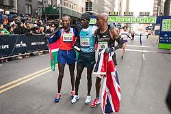 top three Mutai, Sambu, Farah at finish