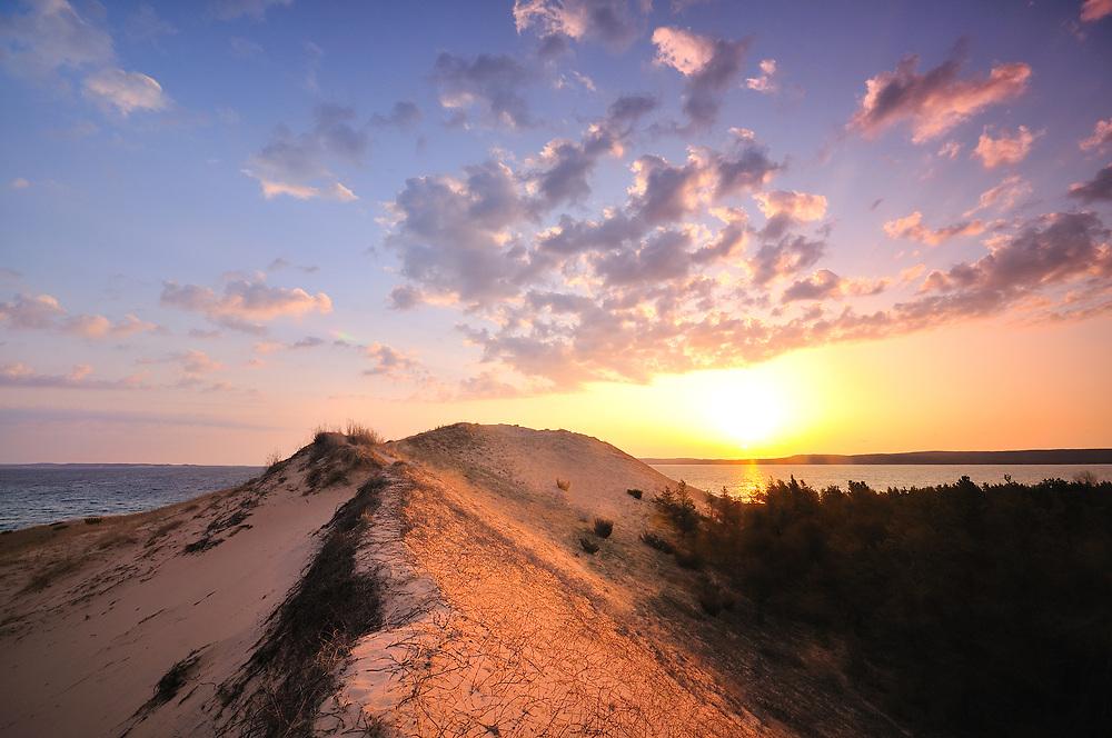 Sunrise over Lake Michigan and Sleeping Bear Point<br /> Sleeping Bear Dunes National Lakeshore