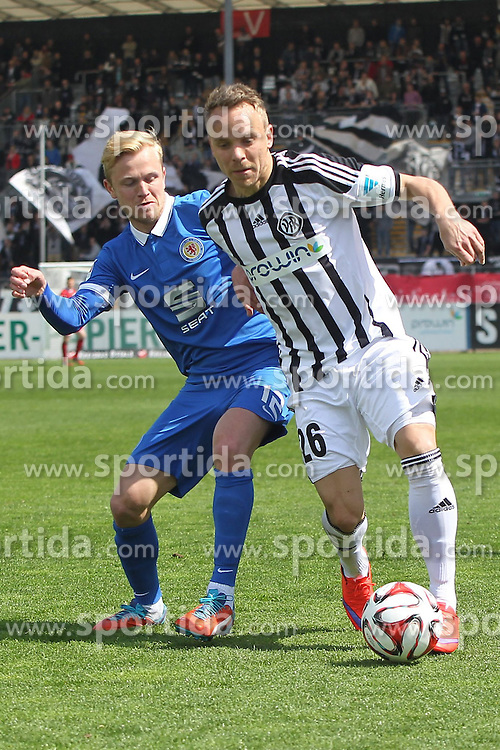 18.04.2015, Scholz-Arena, Aalen, GER, 2. FBL, VfR Aalen vs Eintracht Braunschweig, 29. Runde, im Bild Links Nik Omladic ( Eintracht Braunschweig ) rechts Arne Feick (VfR Aalen) // during the 29nd German Bundesliga 29th round match between VfR Aalen vs Eintracht Braunschweig at the Scholz-Arena in Aalen, Germany on 2015/04/18. EXPA Pictures &copy; 2015, PhotoCredit: EXPA/ Eibner-Pressefoto/ Langer<br /> <br /> *****ATTENTION - OUT of GER*****