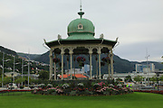 Bandstand park and buildings city centre Bergen, Norway