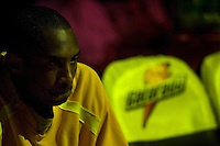 27 March 2007: Guard Kobe Bryant of the Los Angeles Lakers sits on the bench during player introductions before playing against the Memphis Grizzlies before the Grizzlies 88-86 victory over the Lakers at the STAPLES Center in Los Angeles, CA.