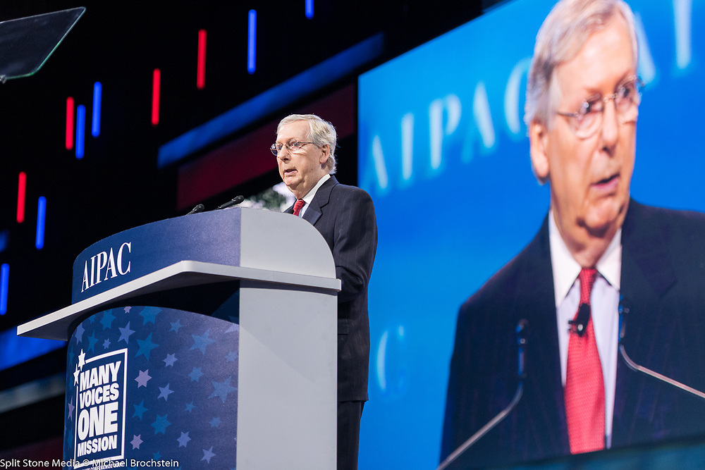 Senator Mitch McConnell addressing the 2017 American Israel Public Affairs Committee (AIPAC) Policy Conference in Washington, D.C.