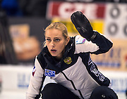 "Glasgow. SCOTLAND.  Russian ""Skip"" signals to a team mate during the ""Round Robin"" Games. Le Gruyère European Curling Championships. 2016 Venue, Braehead  Scotland<br /> Monday  21/11/2016<br /> <br /> [Mandatory Credit; Peter Spurrier/Intersport-images]"