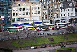 Buses on Princes Street, Edinburgh as seen from the Edinburgh Castle Esplanade.