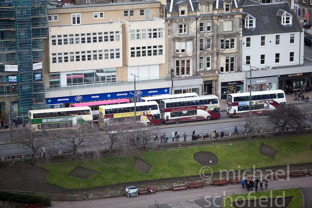 Buses on Princes Street, Edinburgh as seen from the Edinburgh Castle Esplanade.
