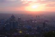 Skyline of Almaty at sunset, Kazakhstan