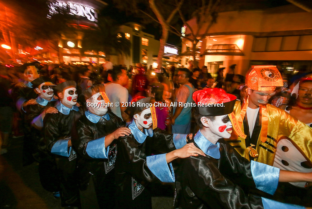 Hundreds of thousands of Halloween revelers attend the West Hollywood Halloween costume carnival on October 31, 2015. The world-famous costume party on Santa Monica Boulevard, the celebration is the largest adult outdoor Halloween event in the world. (Photo by Ringo Chiu/PHOTOFORMULA.com)<br />