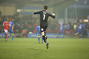 AFC Wimbledon goalkeeper James Shea (1) celebrating AFC Wimbledon scoring during the EFL Sky Bet League 1 match between AFC Wimbledon and Charlton Athletic at the Cherry Red Records Stadium, Kingston, England on 11 February 2017. Photo by Matthew Redman.