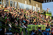 The crowd in the evening sunshine at The New Lawn during the Vanarama National League match between Forest Green Rovers and Sutton United at the New Lawn, Forest Green, United Kingdom on 9 August 2016. Photo by Shane Healey.
