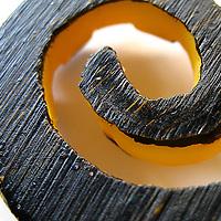 A macro shot of a curling shape