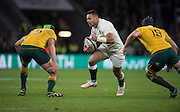 Twickenham, United Kingdom. Ben TE'O, going for the gap,  between [L}] Rob SIMMONS and [R] Dean MUMM, during the Old Mutual Wealth Series Rest Match: England vs Australia, at the RFU Stadium, Twickenham, England, <br /> <br /> Saturday  03/12/2016<br /> <br /> [Mandatory Credit; Peter Spurrier/Intersport-images]