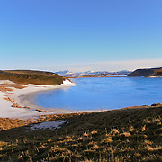 Mývatn is a shallow eutrophic lake situated in an area of active volcanism in the north of Iceland, not far from Krafla volcano. The lake and its surrounding wetlands have an exceptionally rich fauna of waterbirds, especially ducks.