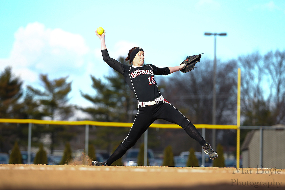 Ursinus College Softball Senior Pitcher/1st Baseman Kate Kehoe (18) - Ursinus College Softball vs Rowan University at Rowan University's Softball Field in Glassboro, NJ on Wednesday March 27, 2013. (photo / Mat Boyle)