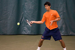 #1 nationally ranked Somdev Devvarman (Virginia) hits a forehand during the #1 doubles match.  The #1 nationally ranked men's doubles team of Somdev Devvarman and Trent Huey defeated #33 ranked Alex Cojanu/Keziel Juneau 8-6.    The #1 ranked Virginia Cavaliers men's tennis team faced the #43 ranked William and Mary Tribeat the Boyd Tinsley Courts at the Boars Head Inn in Charlottesville, VA on January 20, 2008.
