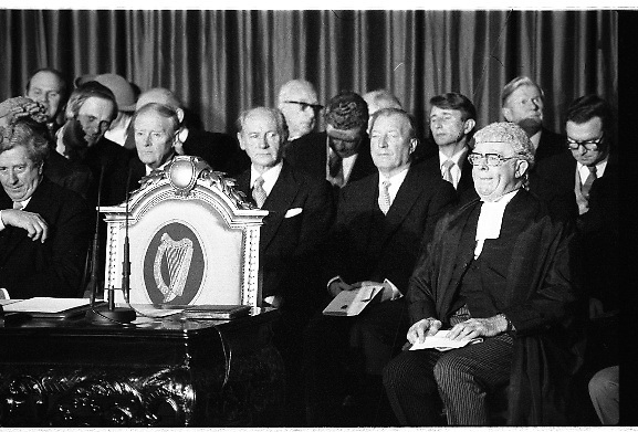 Inaugeration of President Hillery..1983.03.12.1983.12.03.1983.3rd December 1983...Dignitaries from home and abroad attended the Inaugeration of Patrick Hillery, as president of Ireland. the ceremony took place at St Patrick's Hall,Dublin Castle...A photograph of the cream of Irish political life await the arrival of President Elect,Mr Patrick Hillery..Included are Taoiseach Mr Garret Fitzgerald,Mr John Bruton,Mr Liam Cosgrave,Mr Jack Lynch,Mr Charles Haughey and the CChief Justice,Mr Tom O'Higgins.