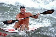 CAPE MAY, NJ - AUGUST 9: Chris Zimmer, of San Diego, California competes in the International Ironman competition during the United States Lifesaving Association Lifeguard Championships August 9, 2003 in Cape May, New Jersey. Lifeguards from all over the U.S. and Canada compete for the title of National Champion not for prizes, but for the right to say they are the best lifeguards in the country. Lifeguards compete in Surf Swim, Rescue Board Races, Surf Boat Races, Ironman/Ironwomen, and Beach Flag events for three days every August. This year the event was held in Cape May, New Jersey. (Photo by William Thomas Cain/Getty Images)