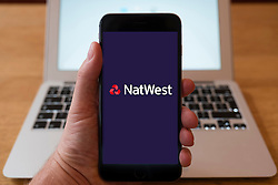 Using iPhone smart phone to display website logo of NatWest Bank