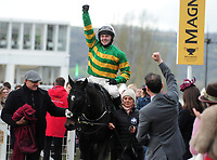 National Hunt Horse Racing - 2019 Cheltenham Festival - Friday, Day Four (Gold Cup Day)<br /> <br /> Jonjo O'Neill Jr. on Early doors  enters the winners enclosure in the 17.30 Martin Pipe Condtional Jockeys' handicap hurdle race at Cheltenham Racecourse.<br /> <br /> COLORSPORT/ANDREW COWIE