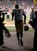 Pittsburgh Steelers quarterback Ben Roethlisberger (7) runs out of the tunnel and onto the field for the NFL AFC Wild Card playoff football game against the Cincinnati Bengals on Saturday, Jan. 9, 2016 in Cincinnati. The Steelers won the game 18-16. (©Paul Anthony Spinelli)
