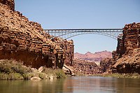 Navajo Bridge crosses the Colorado River's Marble Canyon near Lee's Ferry in the US state of Arizona. Grand Canyon National Park, AZ.